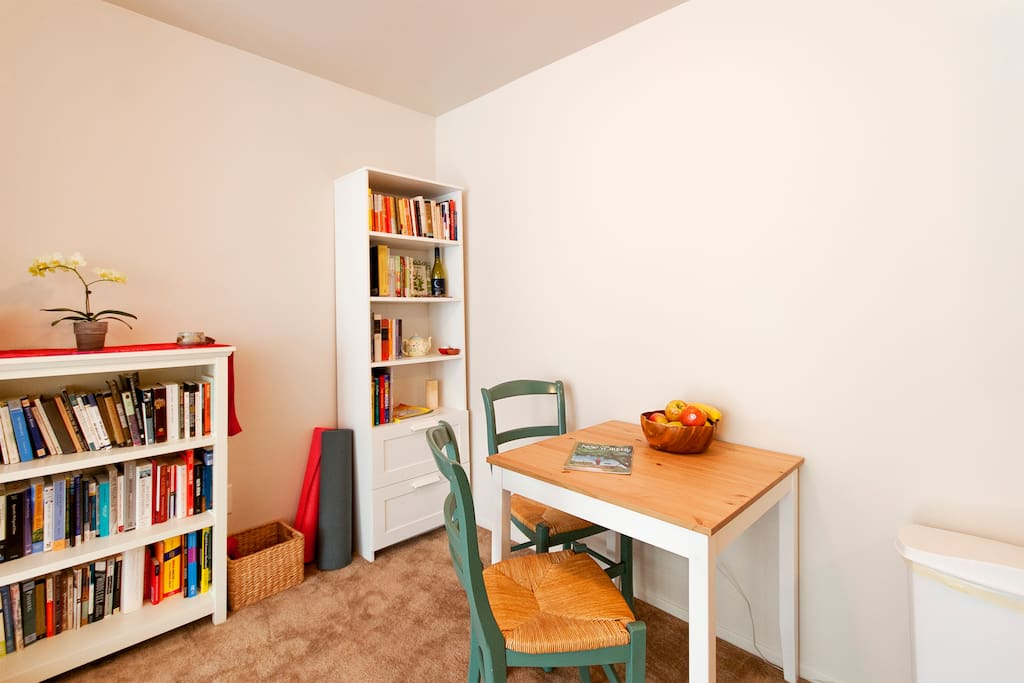Breakfast nook and lots of books! (Actually, we now have more bookshelves and so more books!)