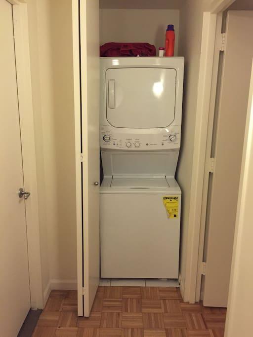 Washer/dryer in unit.