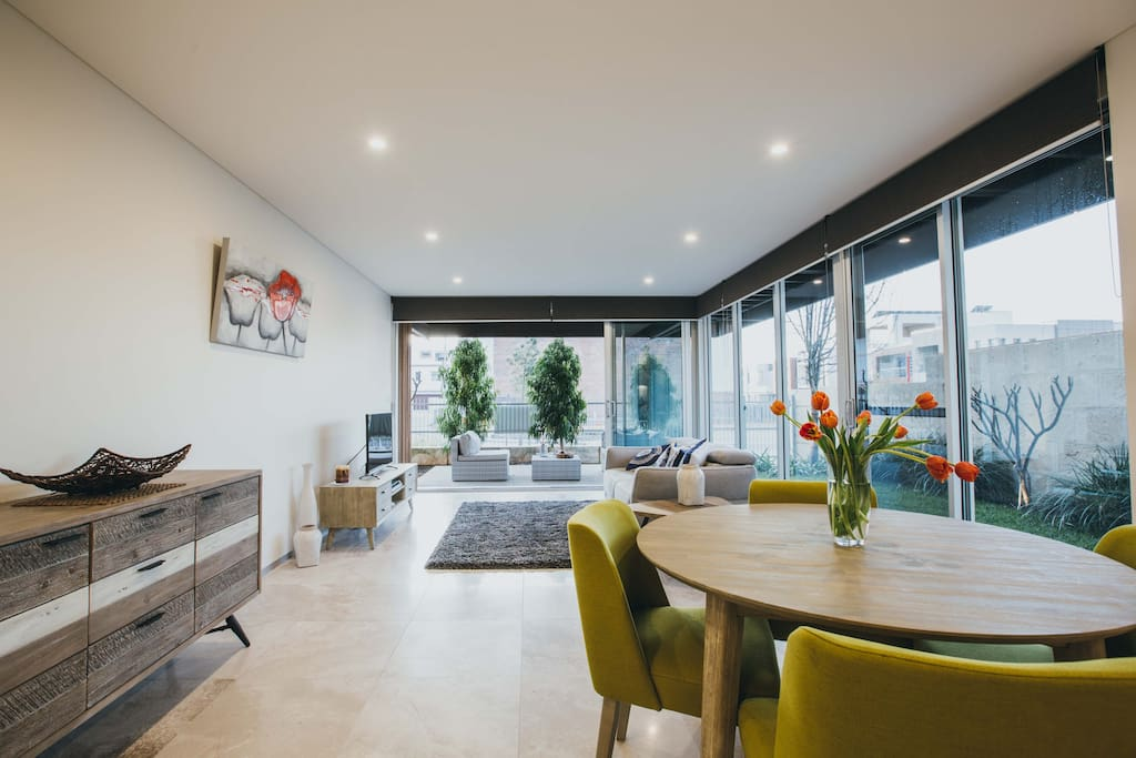Dining and living areas open plan