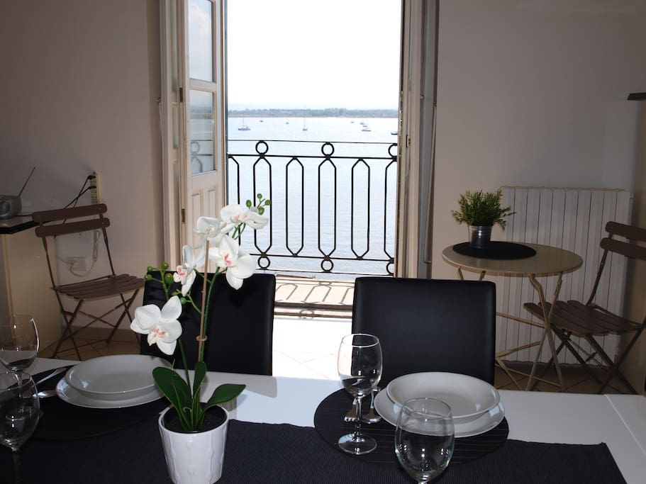 A wonderful sea view from inside. Have a lunch or a dinner with this beautiful landscape!