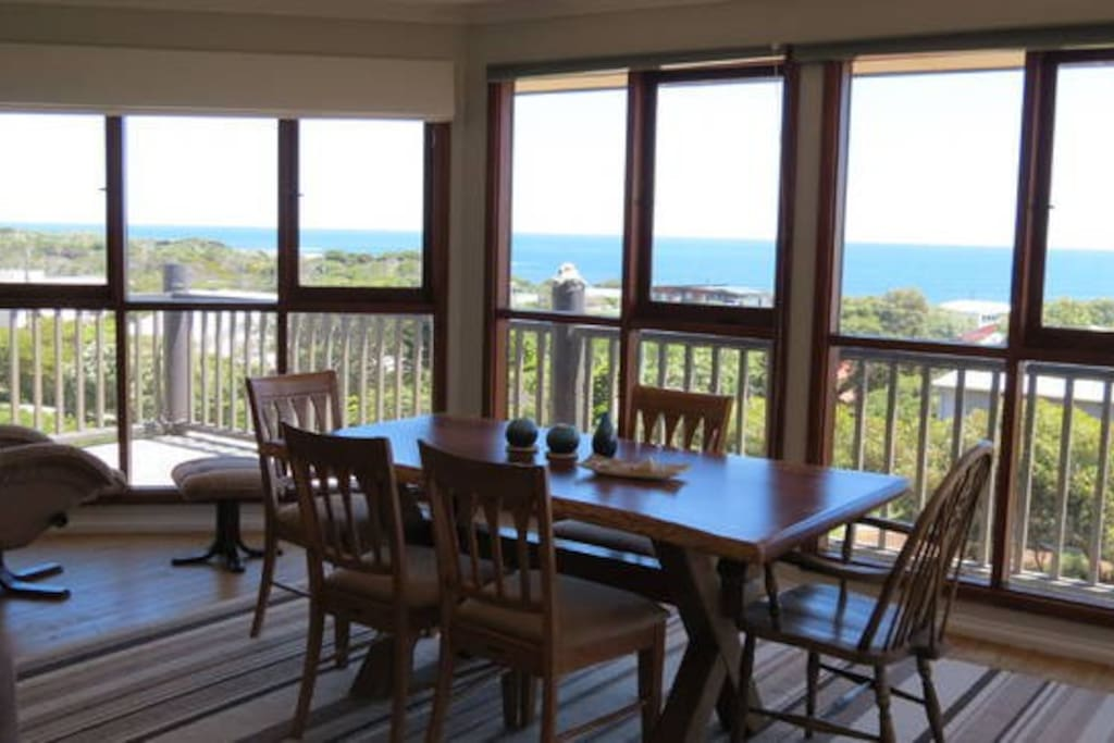 dinning table upstairs with stunning ocean views