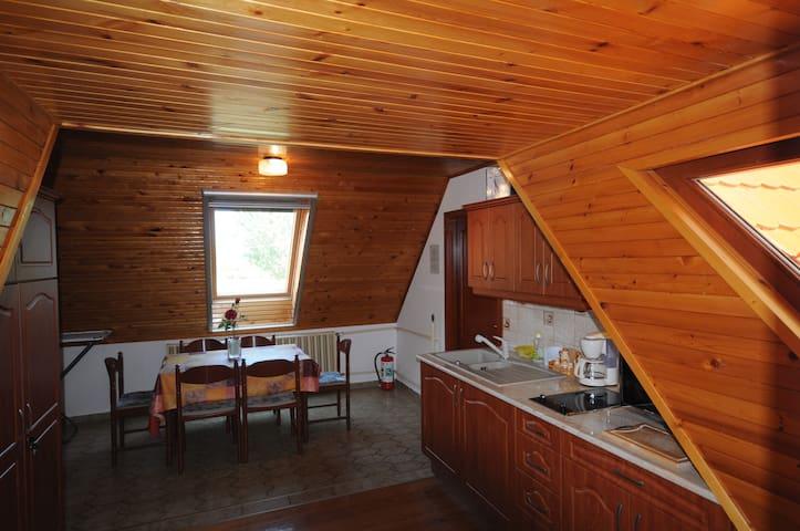 Vendégházunk konyhája, belépési nézőszögből.