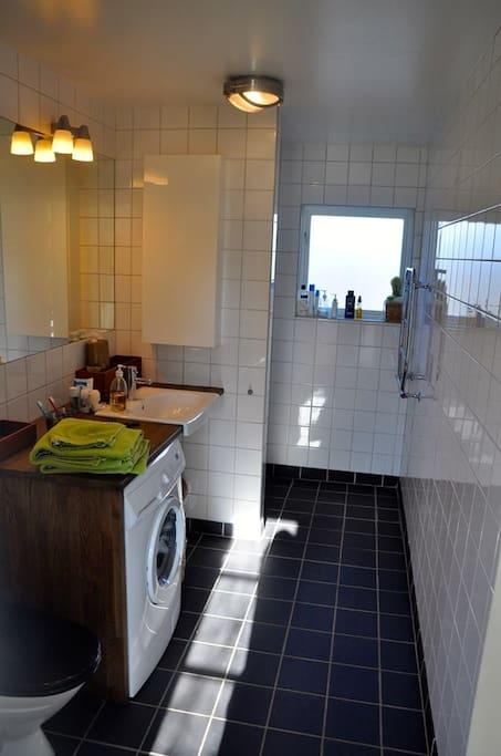 Badrum med dusch samt tvättmaskin/torktumlare
