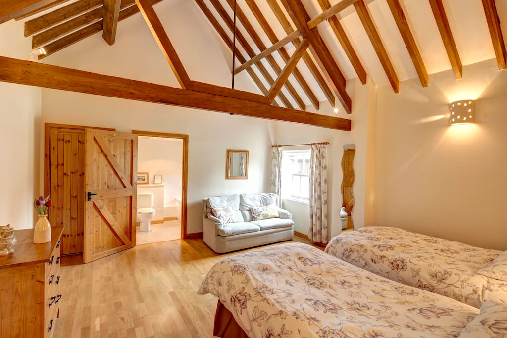 The twin room, has an en-suite bathroom, as well as a sofa bed.