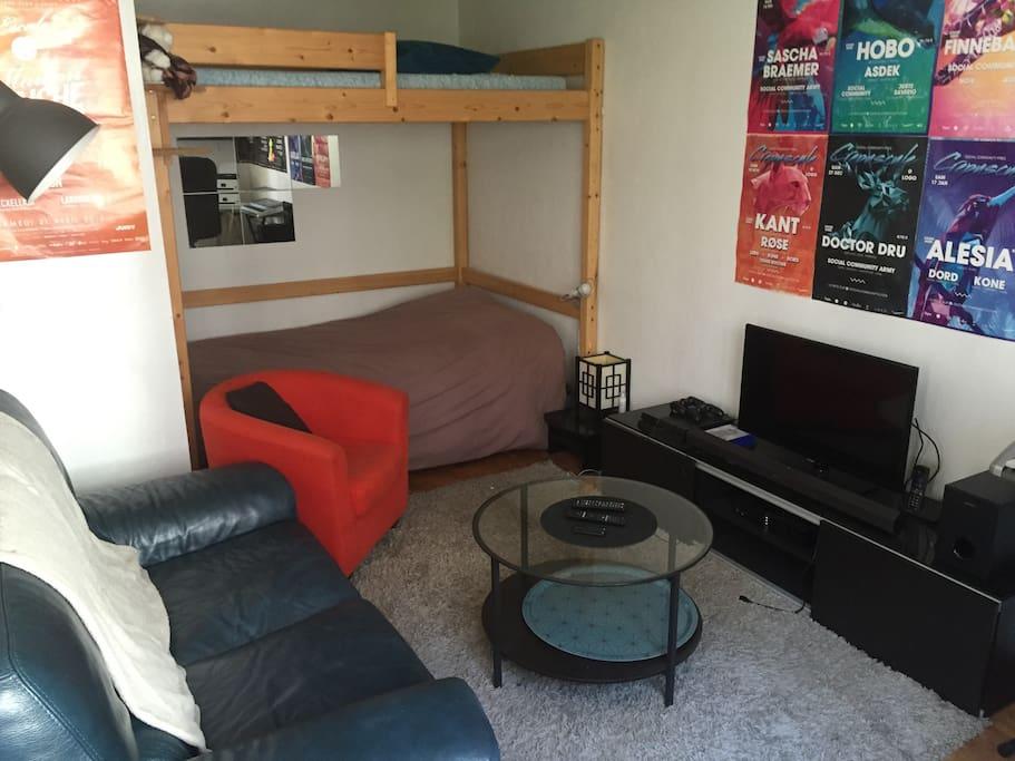 Canapé cuir, écran plat, belle déco, lit mezzanine 2x2 places, tapis de luxe, quoi de plus ?