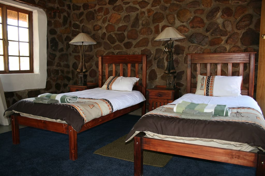 Each chalet has 2 single or 3 single beds