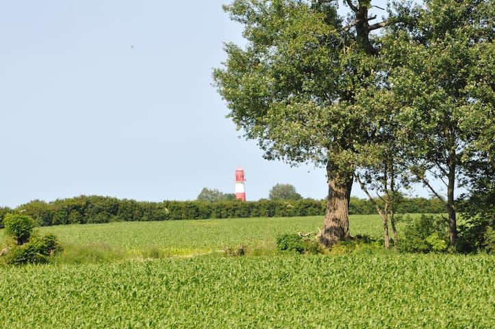 Blick auf den Leuchtturm von Flasshoff