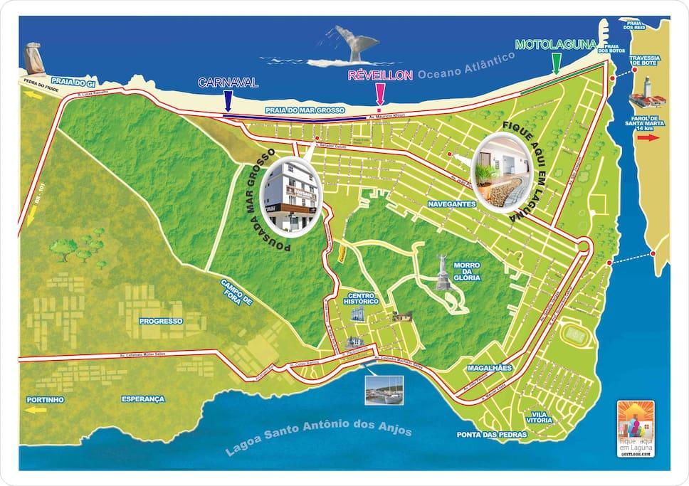 mapa de localização em Laguna