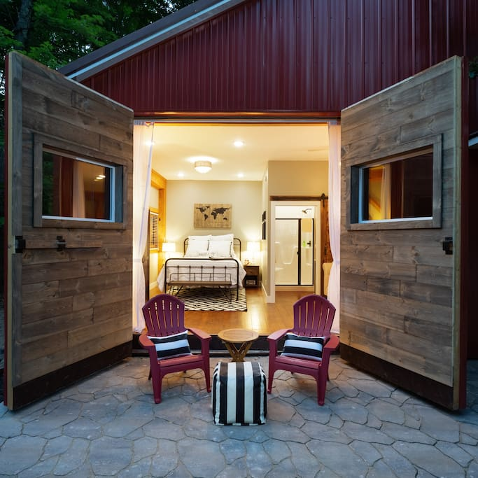 View from private patio with barn doors open.
