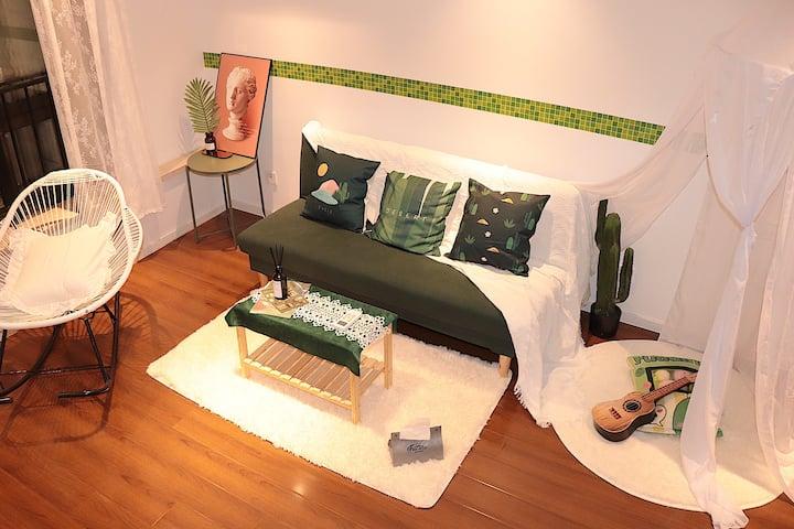 〈不二-绿野〉loft摇椅投影公寓 下楼文化宫地铁站