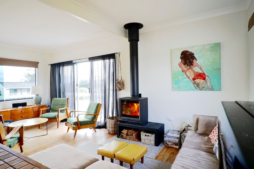 Social open plan layout with wood burning fire - perfect for the colder months