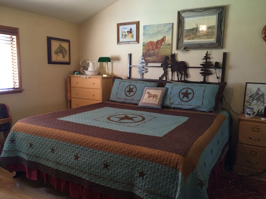 The Corral has a king Tempur-pedic bed with lots of room.
