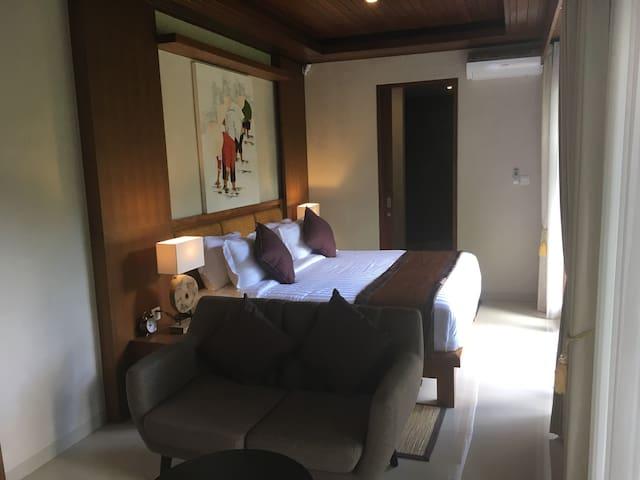 Sofa, Double Bed & Bathroom Access