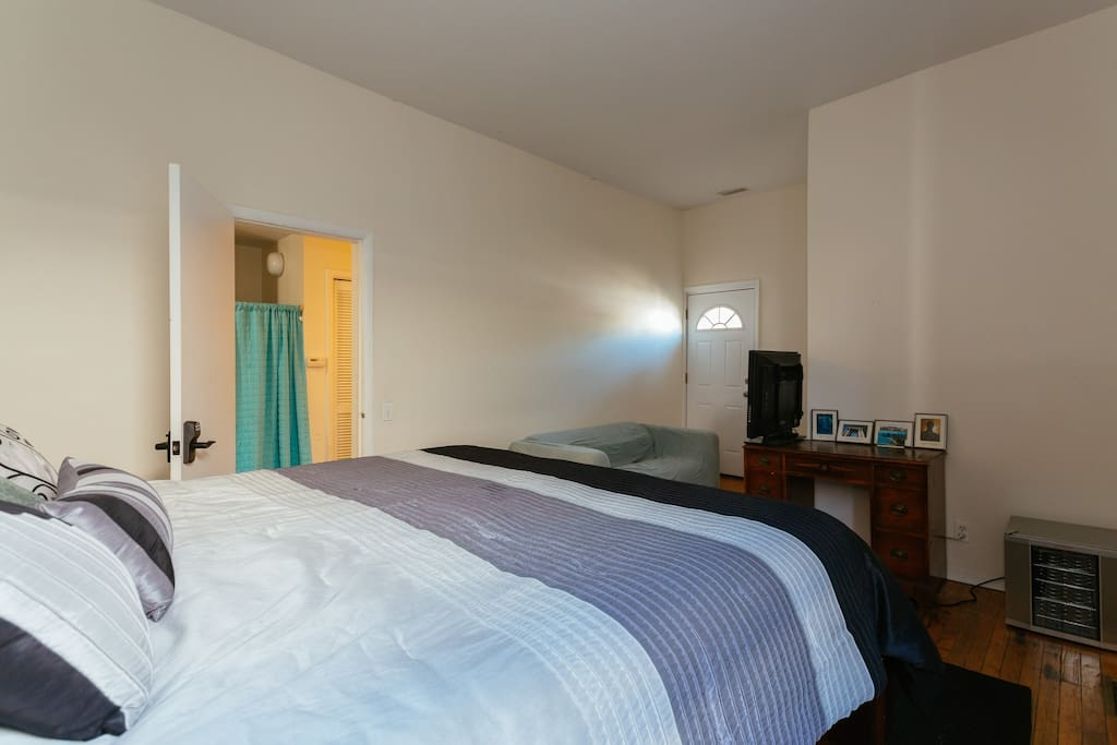 This is your room, bedding style may be different when you get there. You have the king size bed