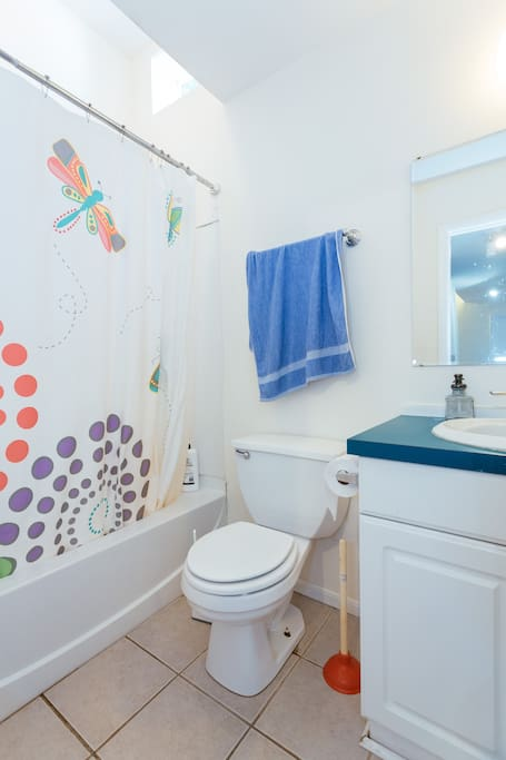 Shared bathroom. Cleaned once a week. Only one at the premise