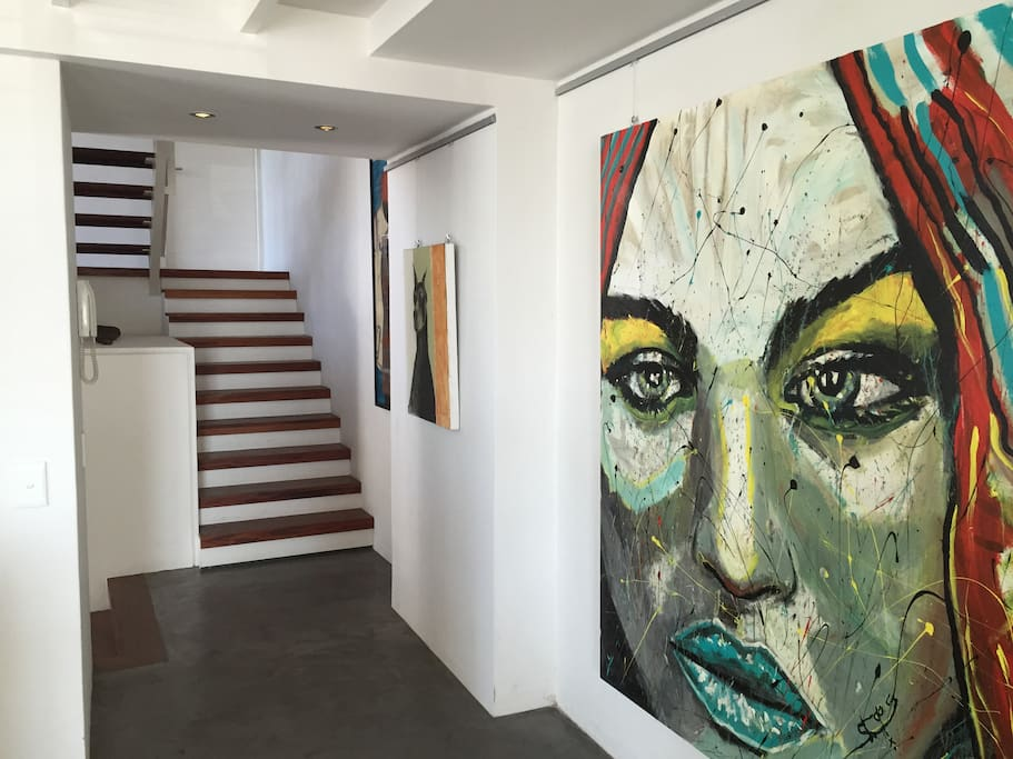 Entrance hung with original South African ART.
