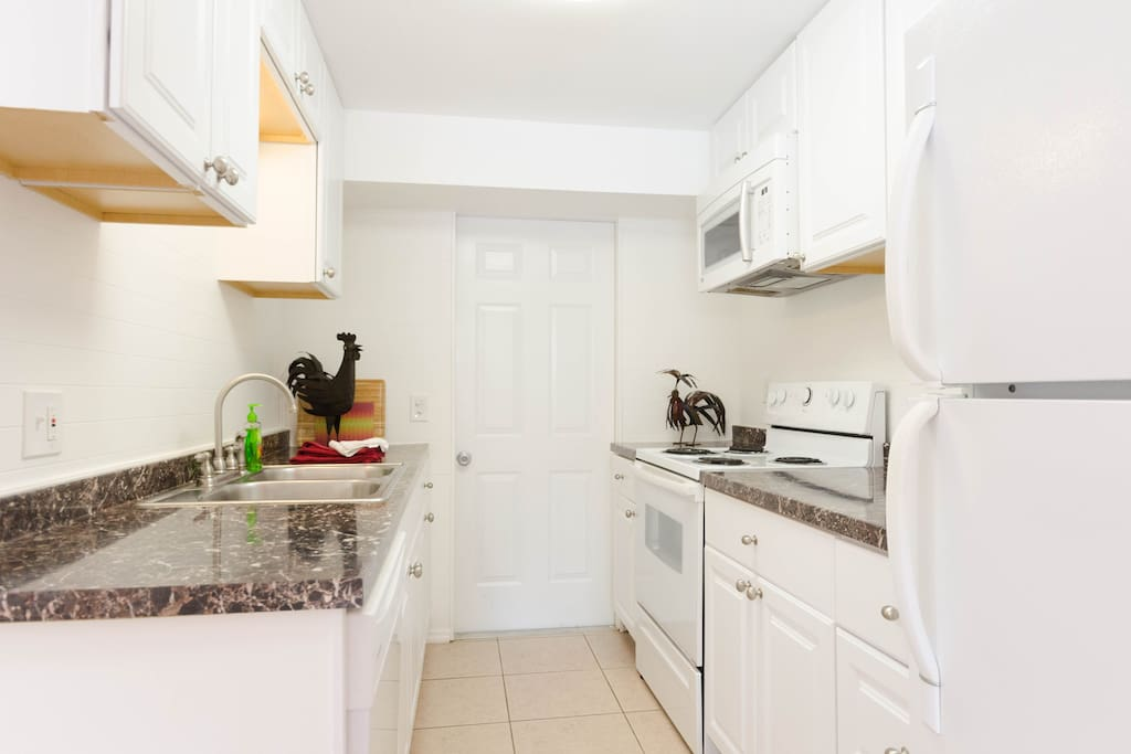 The kitchen comes full equipped with a dishwasher, coffee, maker, microwave and blender.