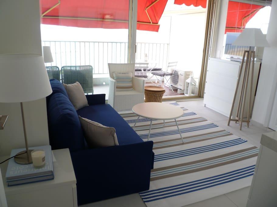 Living-/bedroom with kitchenette & folding double bed (more photos at the end; please scroll forward) - Séjour avec coin cuisine équipée & lit double rabattable (encore des photos vers la fin)