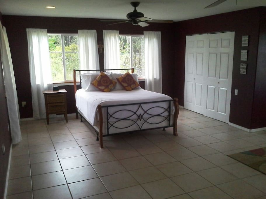 Sleep comfortably on a queen size bed in this 500 sq. ft. private room with its own private bathroom.