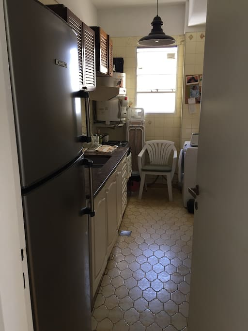 The kitchen - is narrow but long, and very well equipped.