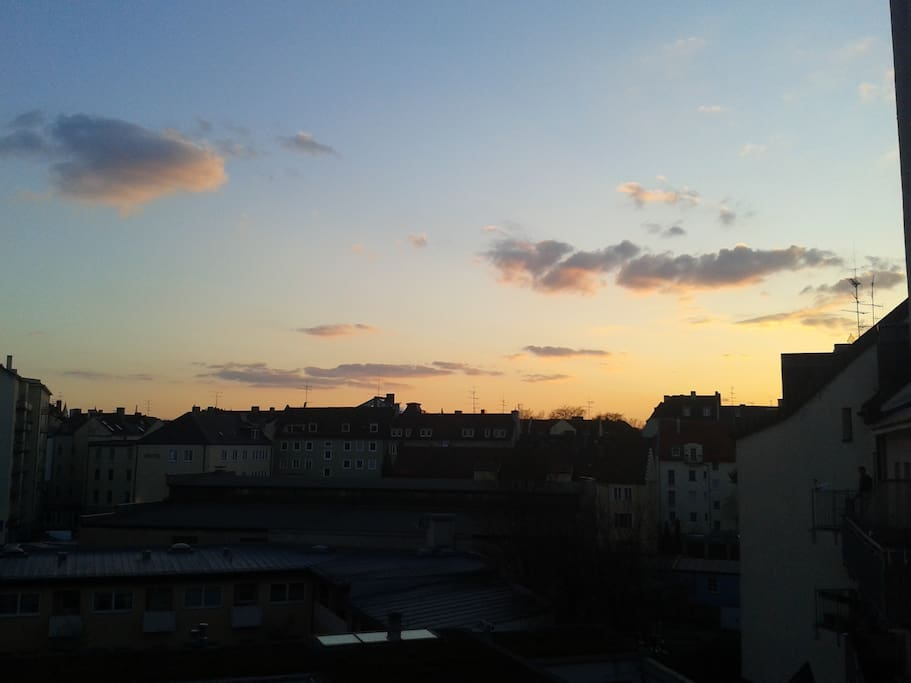 Sunset from the balcony, now you can see parts of the Oktoberfest.