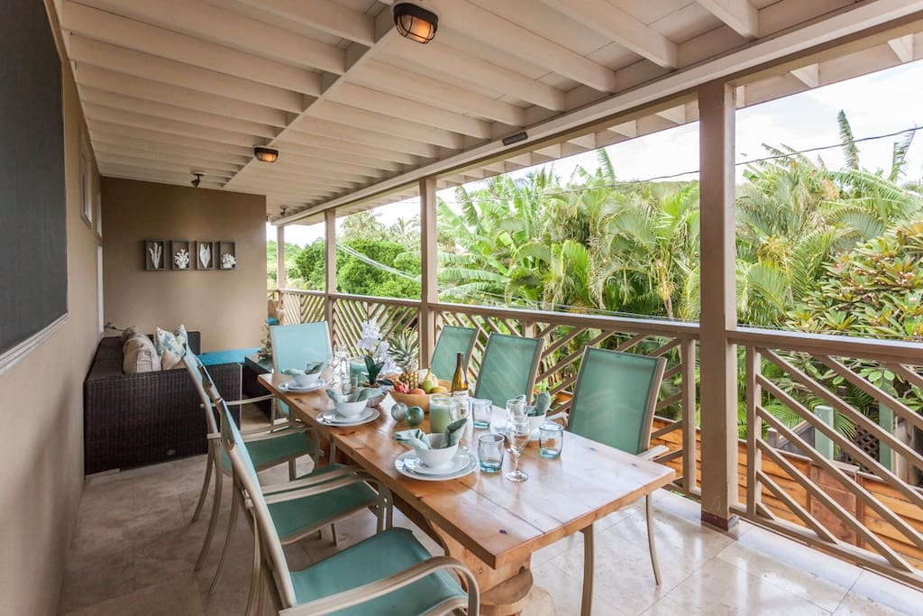 Upper level Dining off of the kitchen on covered lanai
