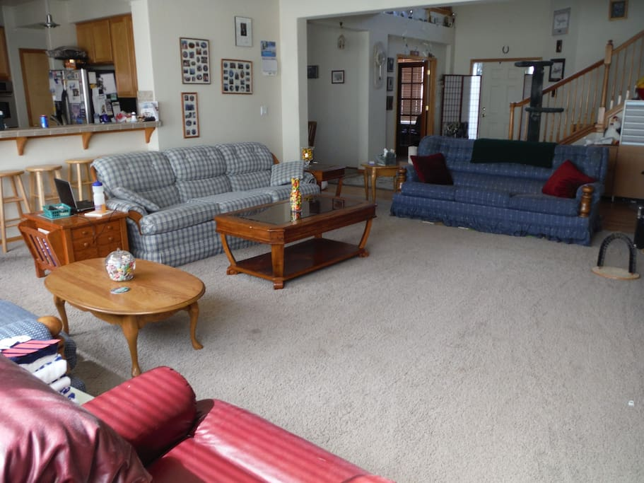Open, airy main-floor living room has fireplace, 3 sofas (including 2 sleepers), 2 recliners, Pike's Peak views, and an open plan that flows into dining room, kitchen, eating area, and breakfast bar.