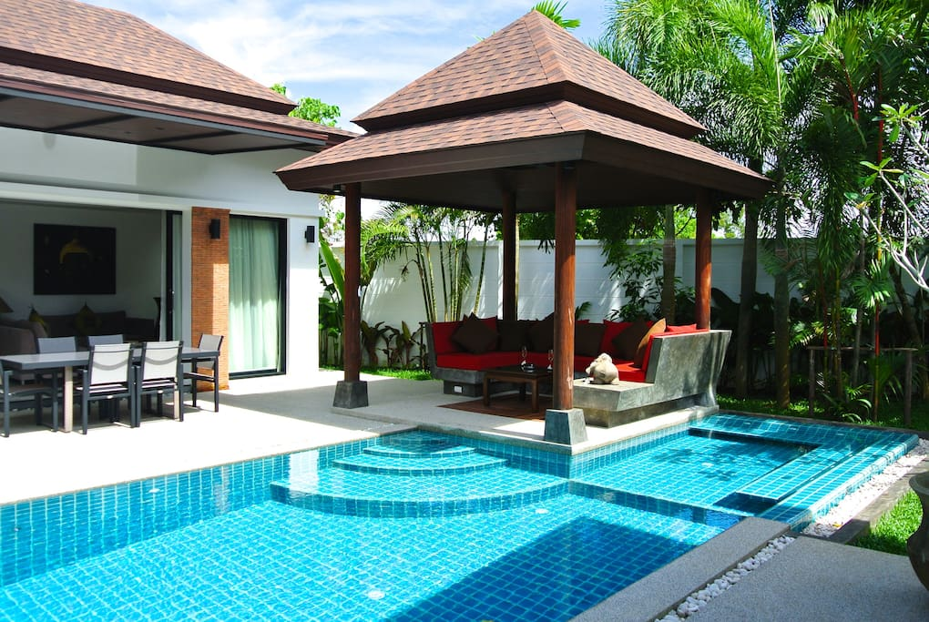 Private pool villa thai bali 3 br villas for rent in for Anda garden pool villas