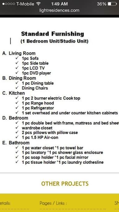 list of furnishing
