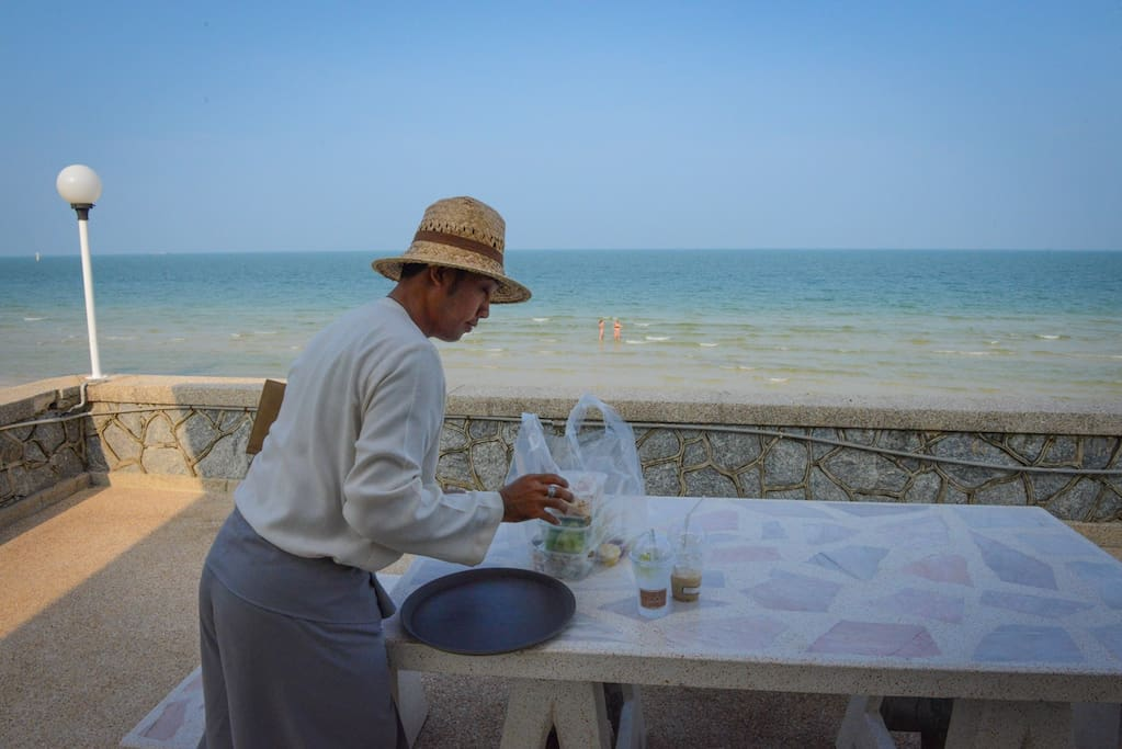 Order take-away from the 5☆ Cape Nidhra hotel next door, delivered to you at the beach front