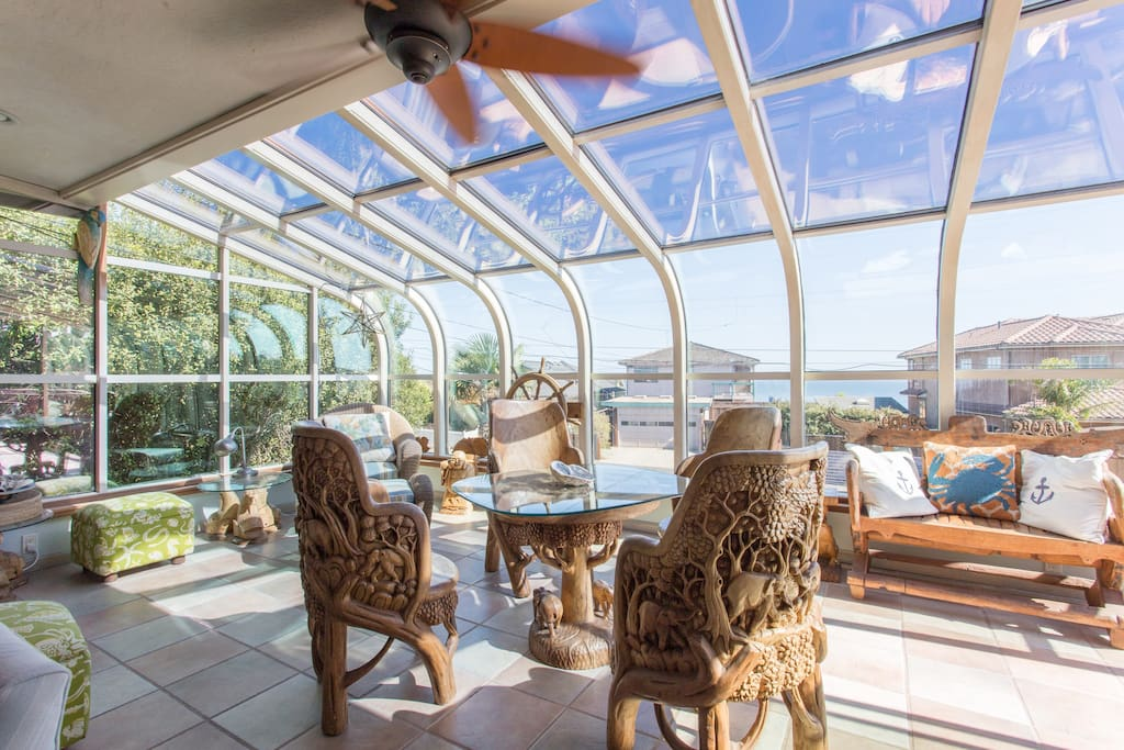 sunroom with ocean views