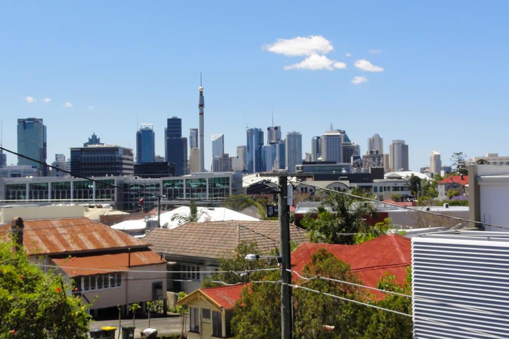Stunning city views from balcony.