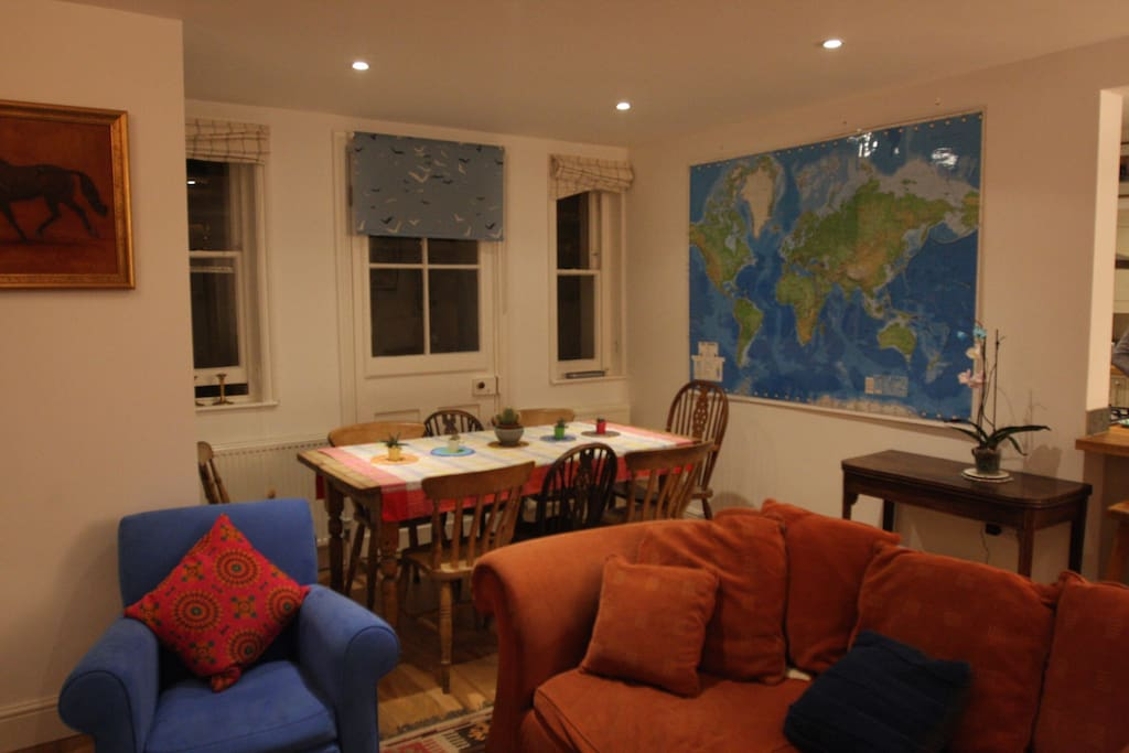Living space with world map - where are you going next?