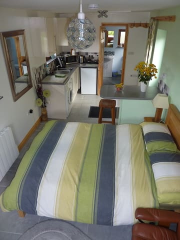 Double bed and kitchenette
