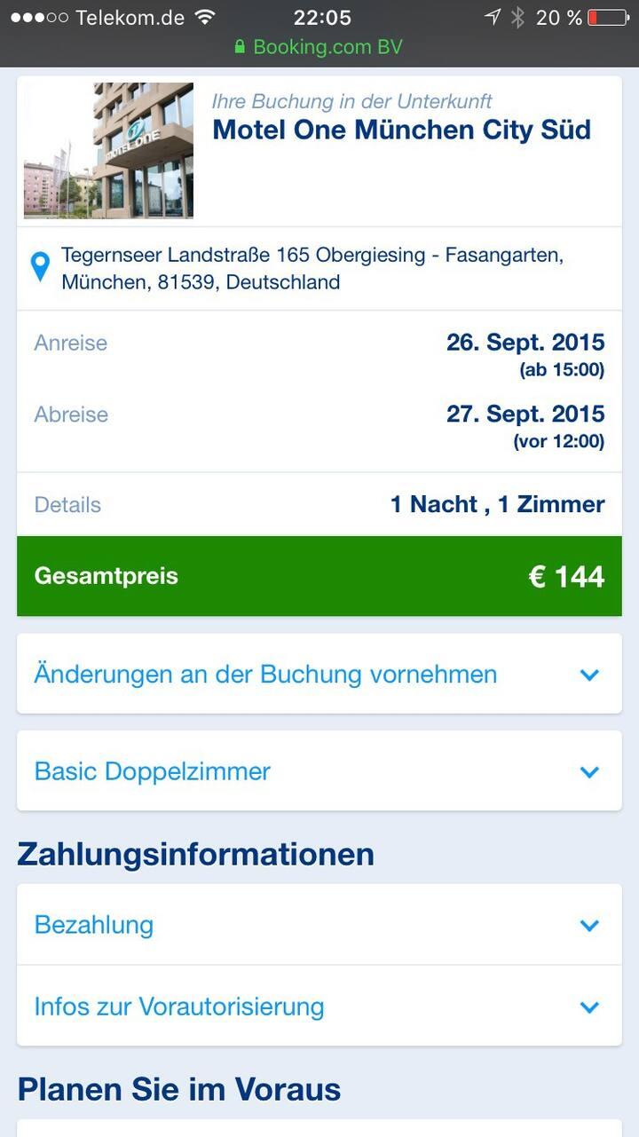 München Oktoberfest Motel One 1Tag