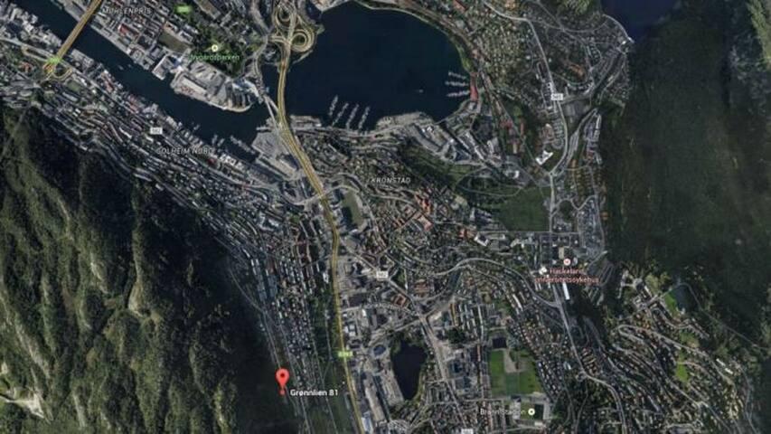 Gangavstand til sentrum, Haukeland og Universitetet i Bergen
