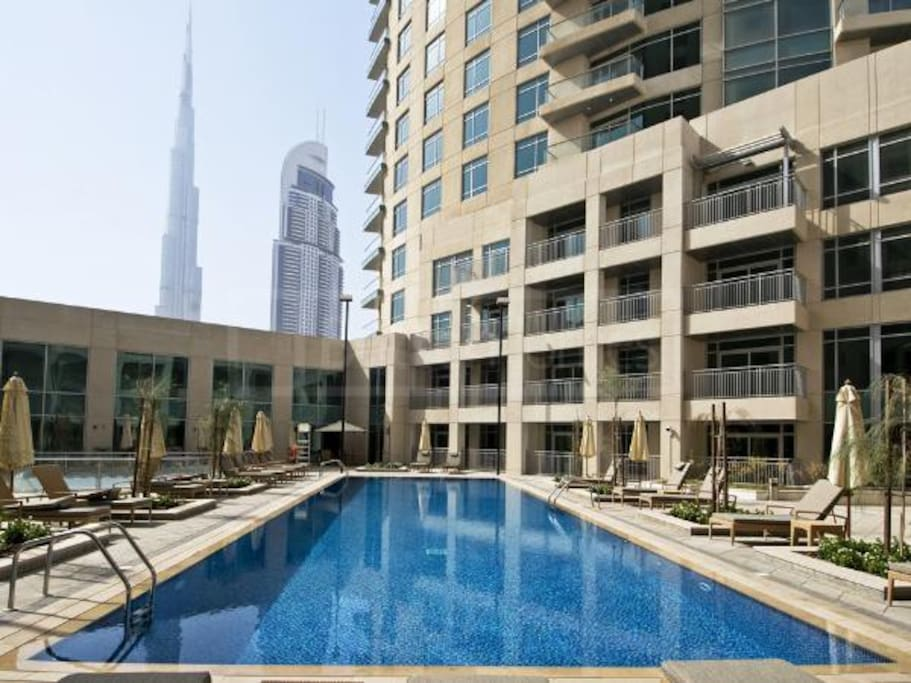 Enjoy the Burj Khalifa View from the Pool !!