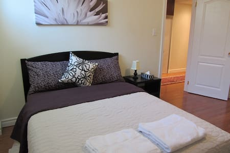 It is a new, very bright and spacious one bedroom basement apartment with open concept fully loaded kitchen cum living / dining space. This apartment has its own 3-piece washroom. Bedroom has walk-in closet and TV.
