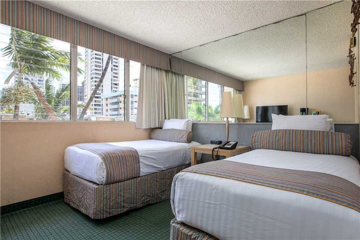 Aqua Aloha Surf Waikiki #201 Moderate Studio with Partial City Views located just 2 Blocks to Waikiki Beach, Sleeps 2