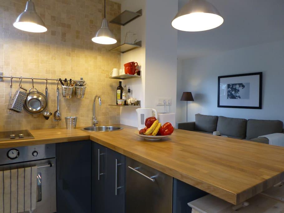 Kitchen, appliances, utensils; sits 4 around island