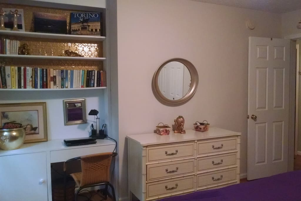 Desk, books and dresser