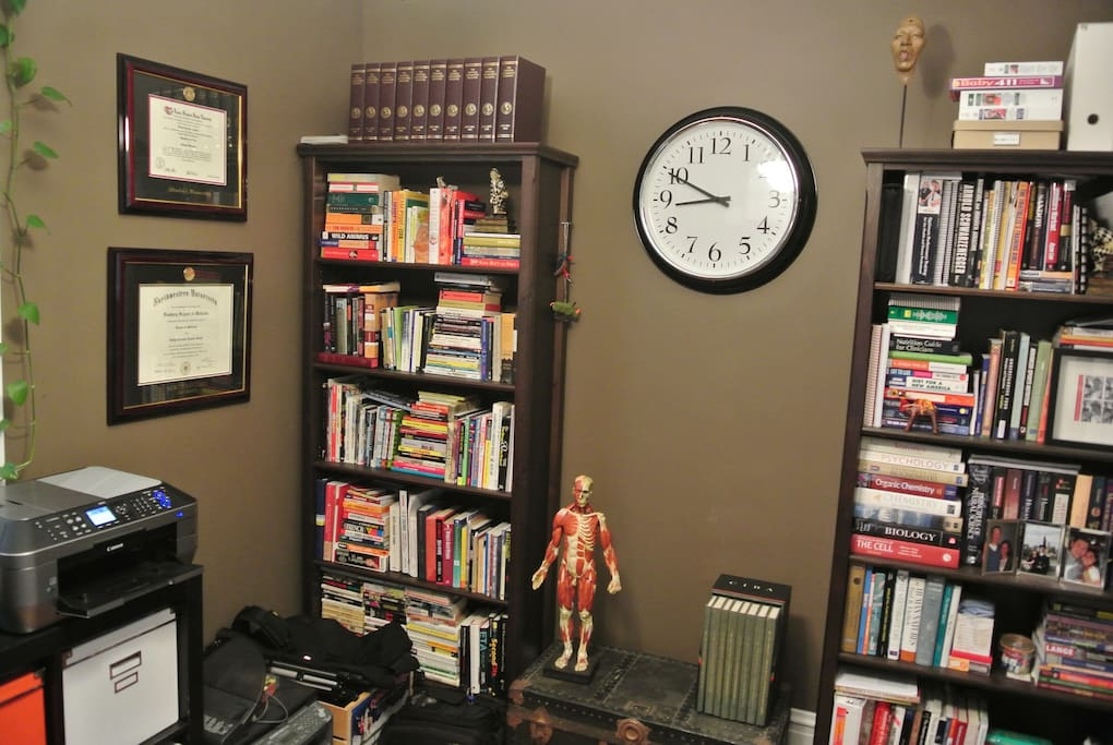 Our little library, plenty of books to browse while you are here.