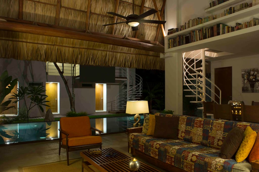 living and dining with palapa ceiling