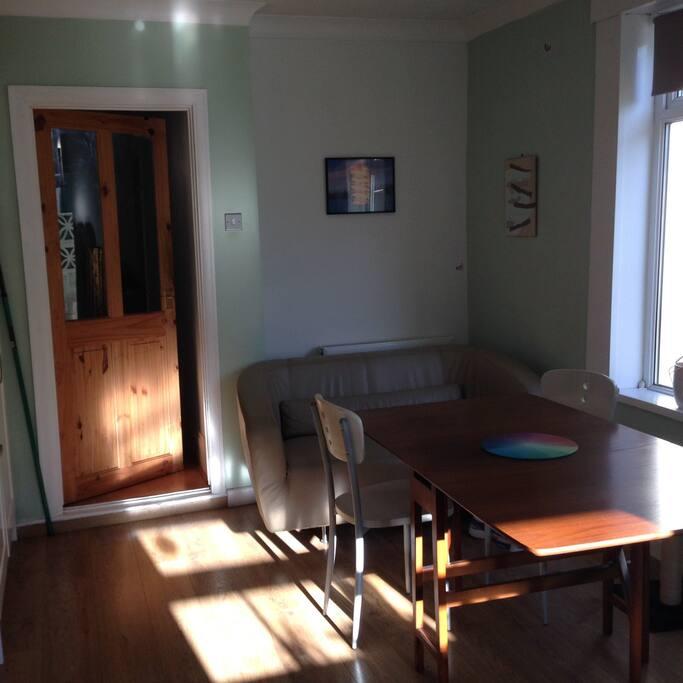 Large bright kitchen.