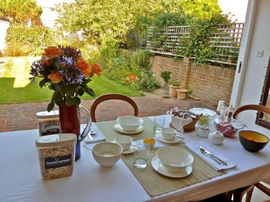 Breakfast is taken in the garden room