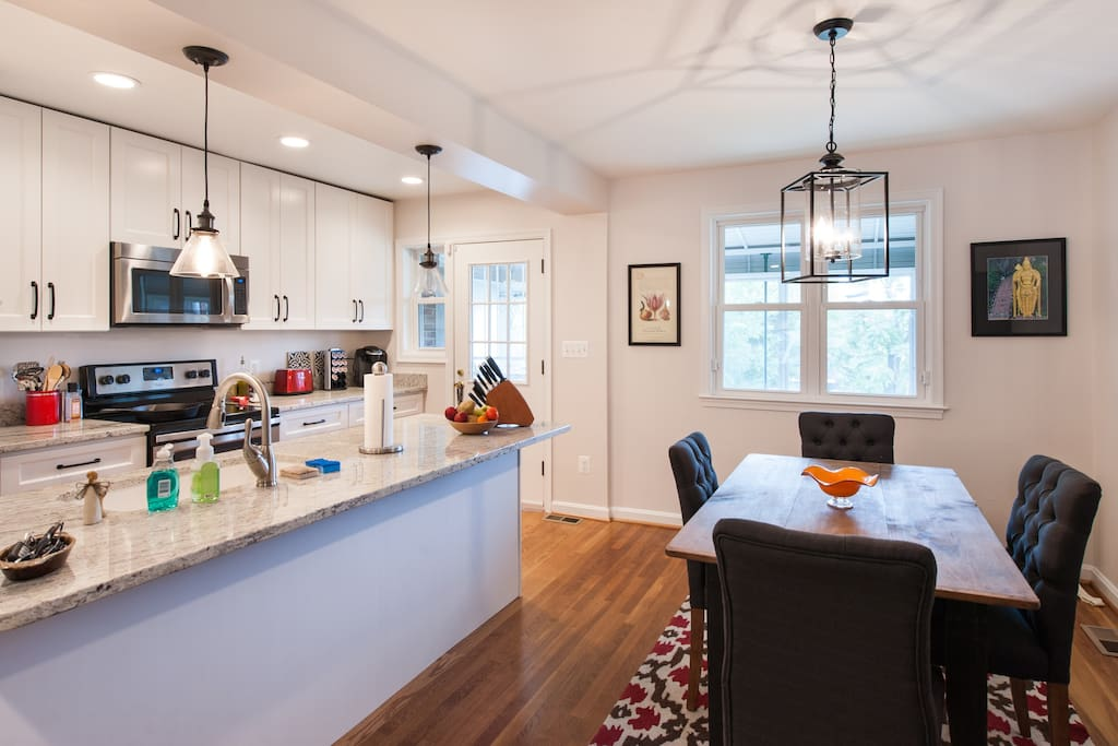 A full kitchen and small dining room available to you.