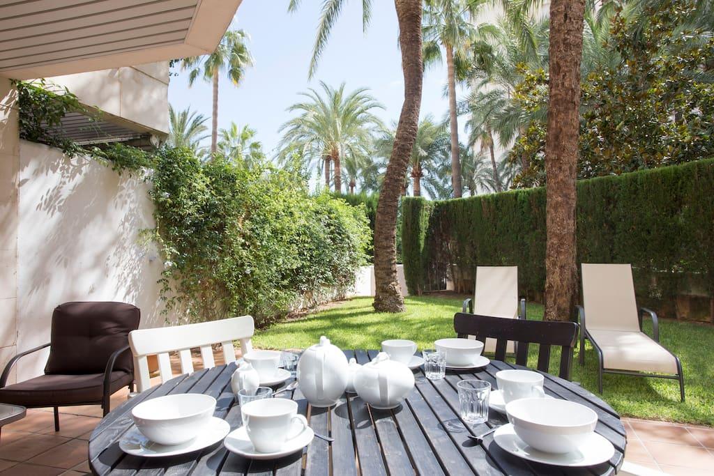 Dine al fresco style on you private patio.