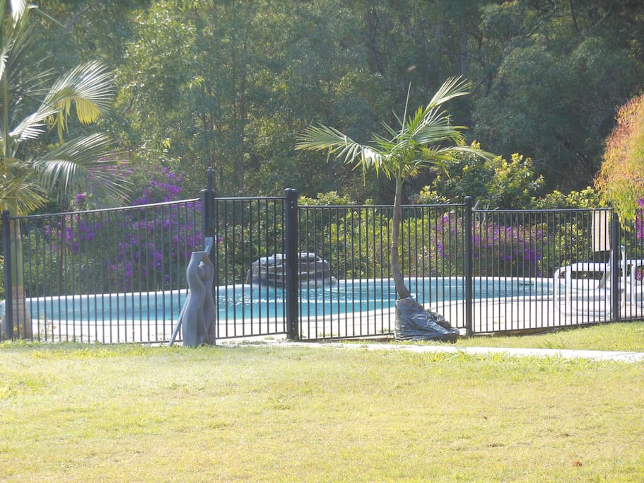 View of the pool which is close to the house and safe.