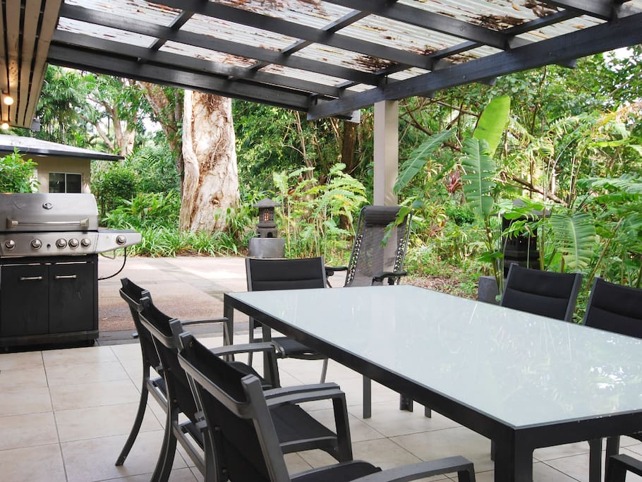 The covered patio has quality barbeque and an outlook over the tropical gardens