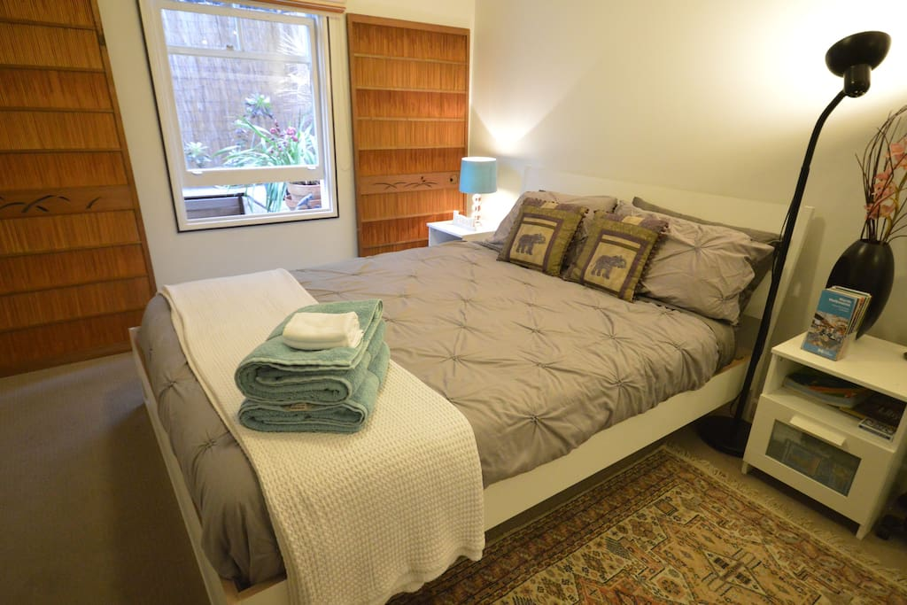 Your bedroom setup with a Queen size bed